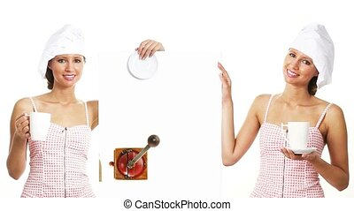 chef woman coffee billboard - chef woman showing indicate...