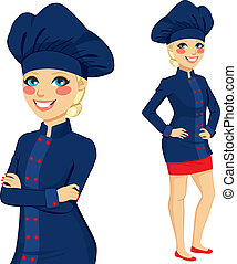 Chef Woman Dark Blue Uniform