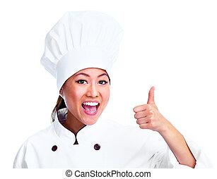 chef, woman., giovane, cinese