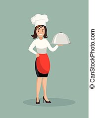 Chef woman in apron.