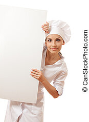 Chef woman with blank board in front of her