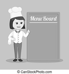 Chef woman with menu board