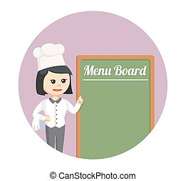 chef woman with menu board in circle background