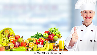 Chef woman with vegetables and fruits.