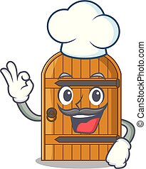 Chef wooden door isolated on character cartoon