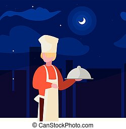 chef worker avatar character vector ilustration