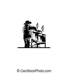 chef worker cooking vector