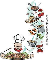 chef, y, el suyo, herramientas