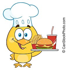 Chef Yellow Chick Character