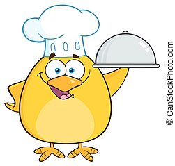 Chef Yellow Chick Holding A Platter