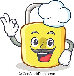 Chef yellow lock character mascot