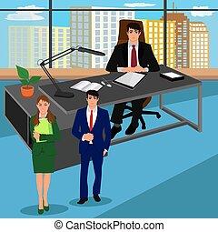 chefbüro, seine, geschäftsmenschen