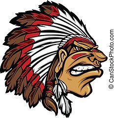 chefe índio, mascote, cabeça, caricatura, ve