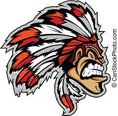 chefe índio, mascote, cabeça, vetorial, caricatura