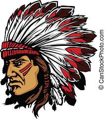 chefe índio, mascote, cabeça, vetorial, gra