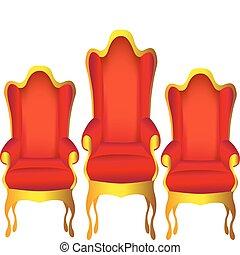 chefe, cadeiras, três, isolado, branco vermelho