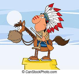 chefe, cavalo, indianas, arma