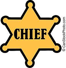 chefe, estrela, -, xerife, sinal