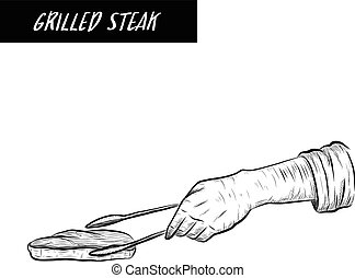 Cheff grill steak on white background