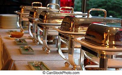cheffing, plats, pour, buffet