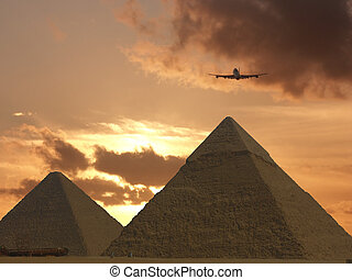 Chefren and Cheops - Pyramids near Cairo in Egypt at sunset.