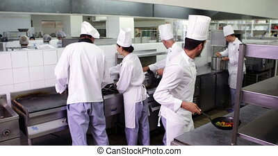 Chefs at work in a busy kitchen in a commercial kitchen