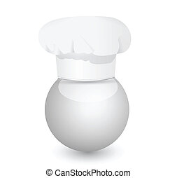 chefs cap on a sphere illustration