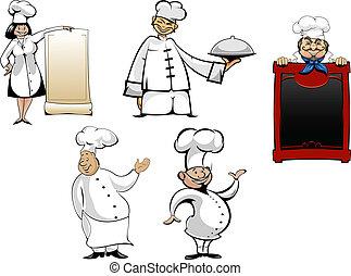 chefs, cocineros, caricatura, conjunto