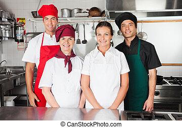 chefs, glücklich, kueche