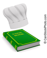Chefs hat and cook book on white background. Isolated 3D illustration