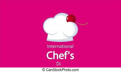 Chefs hat with cherries, art video illustration.