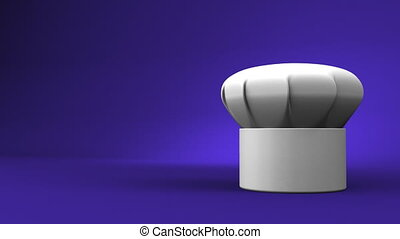 Chef's Hat With Three Stars On Blue Text Space. 3D render Animation.