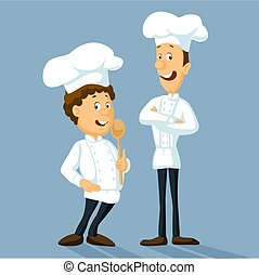 Chefs in uniform standing and smiling. - Professional master hold wooden spoon vector illustration - flat design
