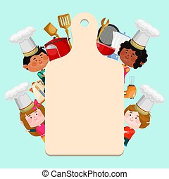 Chefs kids cooking classes template vector illustration. Cartoon characters kids in hats with empty board for text. Little chefs background templates for menu or banner