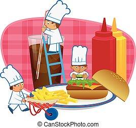 Chefs Making Burger