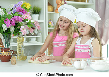 chefs, peu, confection, filles, chapeaux, pâte, mignon