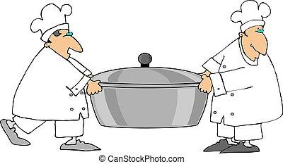 chefs, proceso de llevar, dos
