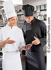 chefs, tableta, digital