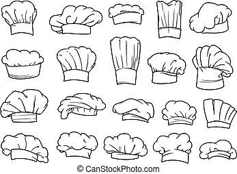 chefs, toques, chapeaux, casquettes