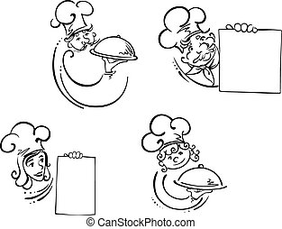 Chefs with food domes and blank cards - Cooks, waiters and...