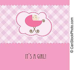 chegada, anúncio, card., vindima, menina bebê
