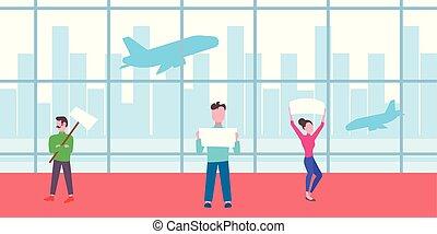 chegada, apartamento, cheio, painél publicitário, pessoas, aeroporto, signboard, esperando, partida, terminal, comprimento, segurando, interior, grupo, horizontais, reunião, corredor, vazio