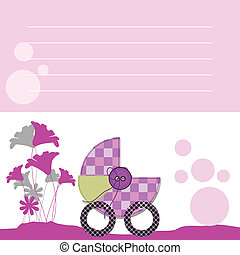 chegada, bebê, cartão, cobrança, anúncios