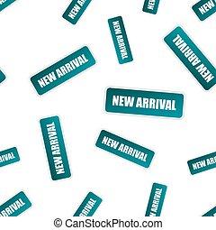 chegada, conceito, negócio, selo, pattern., seamless, pictogram., experiência., vetorial, ilustração, novo, branca