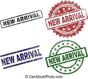chegada, danificado, selo, selos, textured, novo