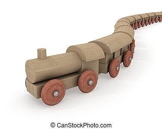chegada, de, madeira, locomotiva