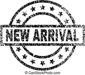 chegada, grunge, selo, textured, selo, novo