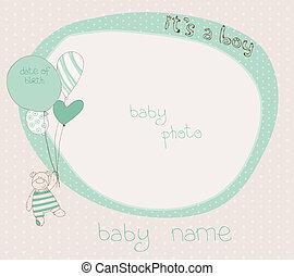 chegada, menino, bebê, cartão, photoframe
