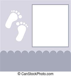 chegada, menino, card., ilustração, vetorial, bebê