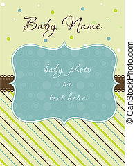 chegada, menino, quadro, cartão, bebê